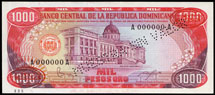 Dominican Rep 1000 pesos 1984 Pick 124S