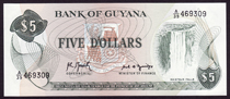 Guyana 5 dollars 1992 Pick 22f
