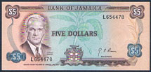 Jamaica 5 dollars 1970 Pick 56