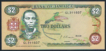 Jamaica 2 dollar 1992 Pick 69