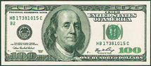 USA 100 dollar Franklin green seal
