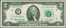 USA 2 dollar Jefferson green seal
