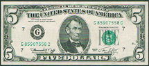 USA 5 dollar Lincoln green seal