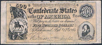 USA Confederate States 500 dollars 210