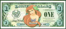 USA Disney 1 dollar 20th anniversary, little mermaid