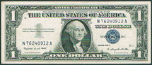 USA one dollar Washington blue seal